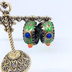 Jewelry - Chunky Hand Painted Hoop Earrings